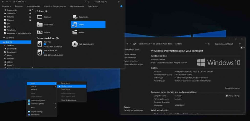 windows 10 dark themes