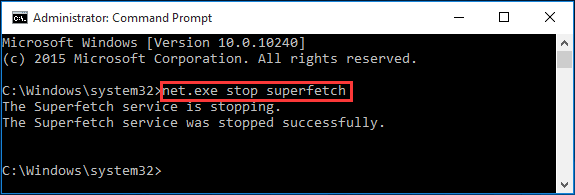 disable superfetch service