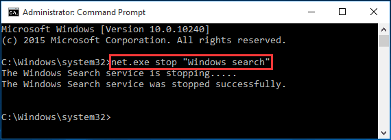 disable Windows Search temporarily