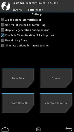Twrp settings