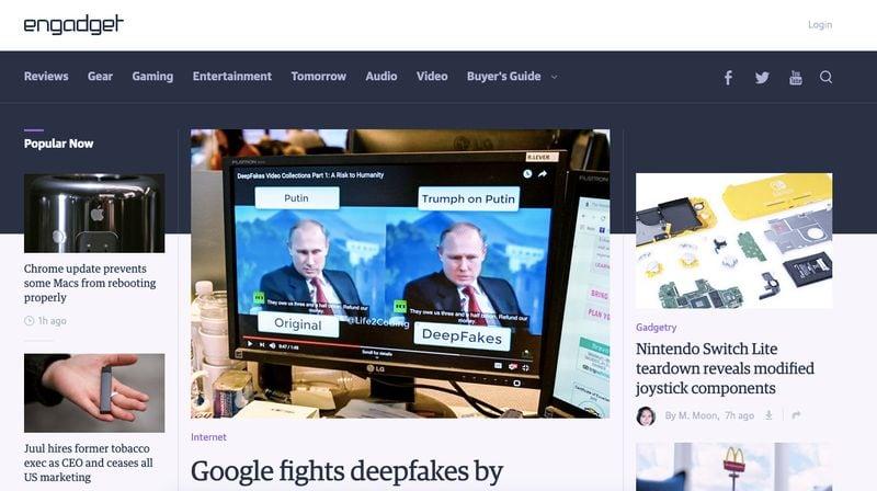Engadget website Homepage