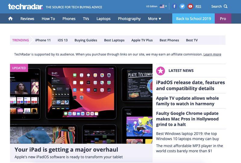 TechRadar HomePage Websites