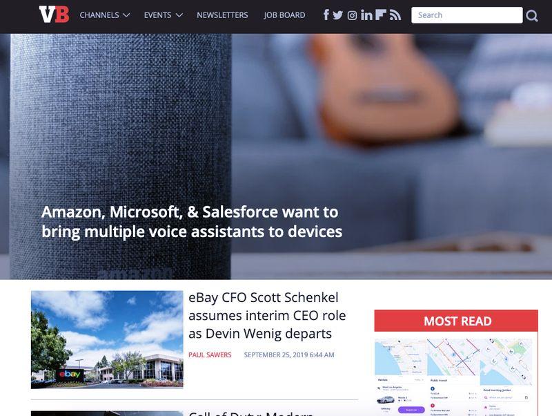 VentureBeat Website HomePage