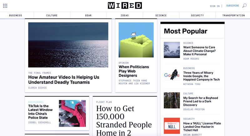 Wired Websites homepage
