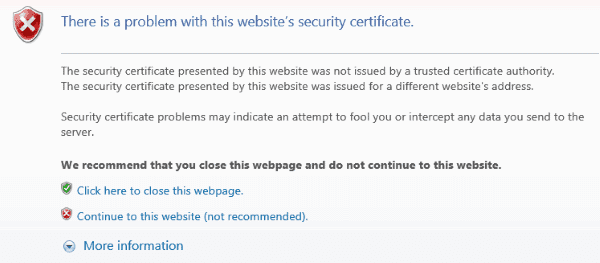 Image result for security certificate error