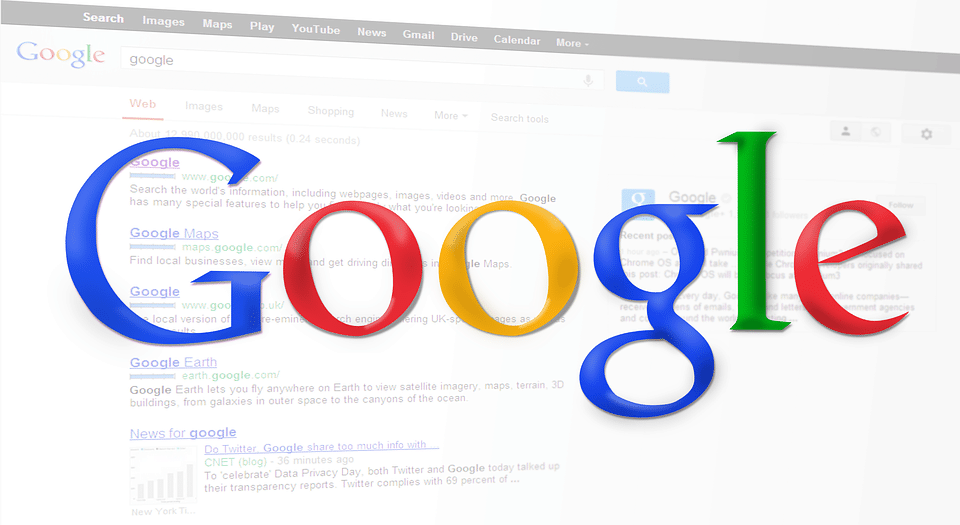 Google web page search engine