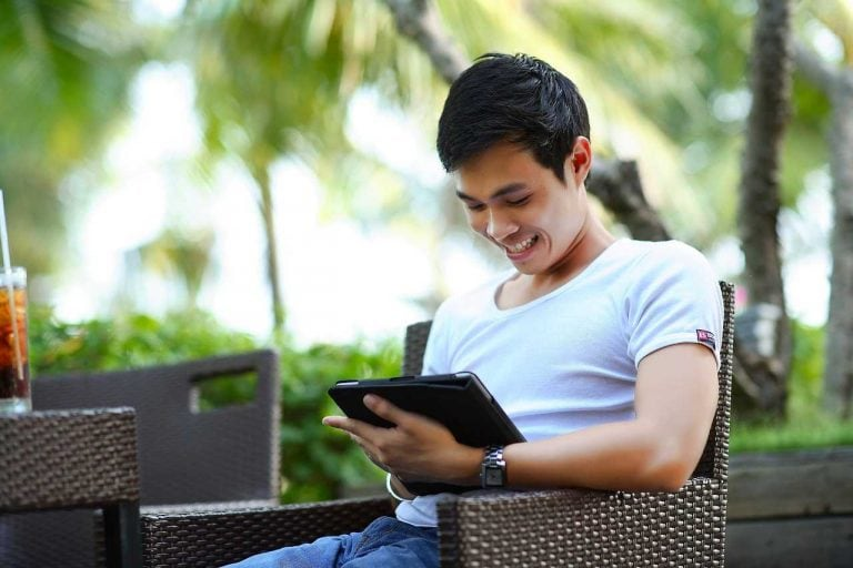 Man messaging someone