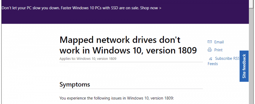 "How to Fix ""Mapped Network Drives Don't Work"" After Windows 10 1809 Update?"